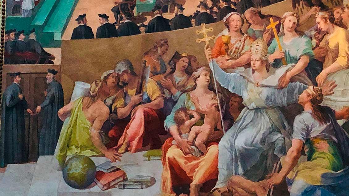 """Metaphorische Darstellung der Kirche (""""ecclesia"""") als Päpstin in Santa Maria in Trastevere, Rom."""