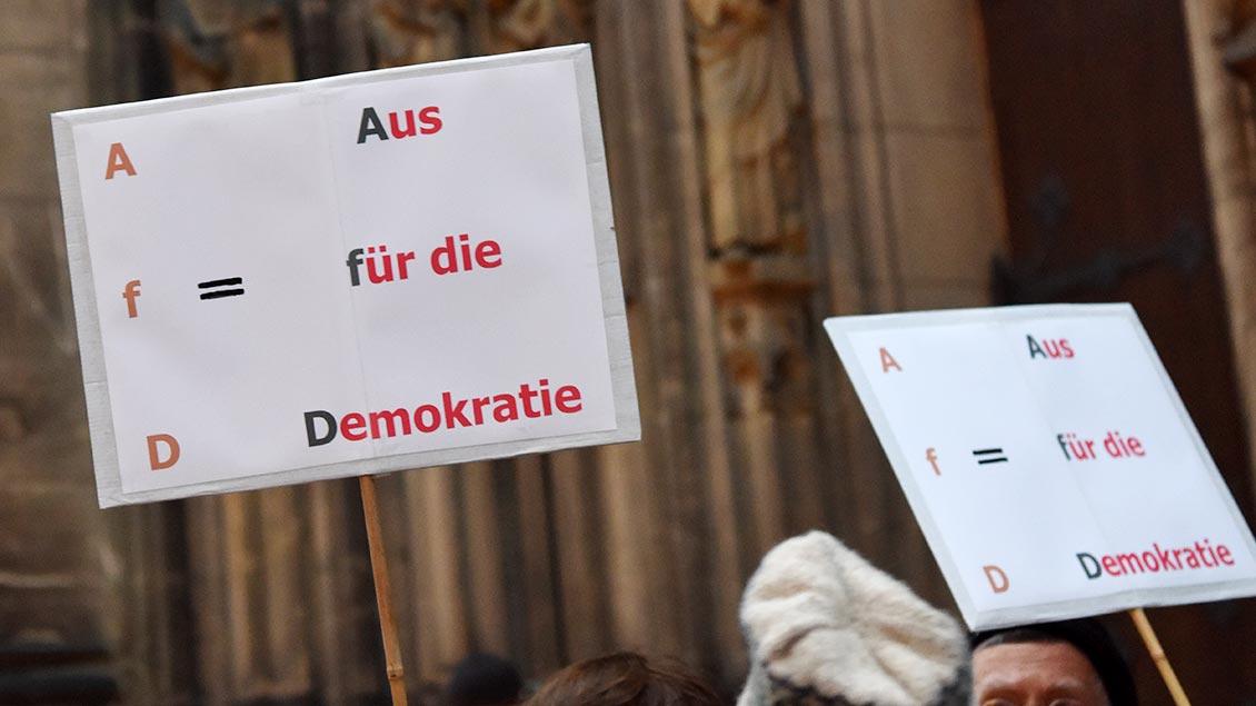 Plakat gegen den Neujahrsempfangs 2017 der AFD in Münster