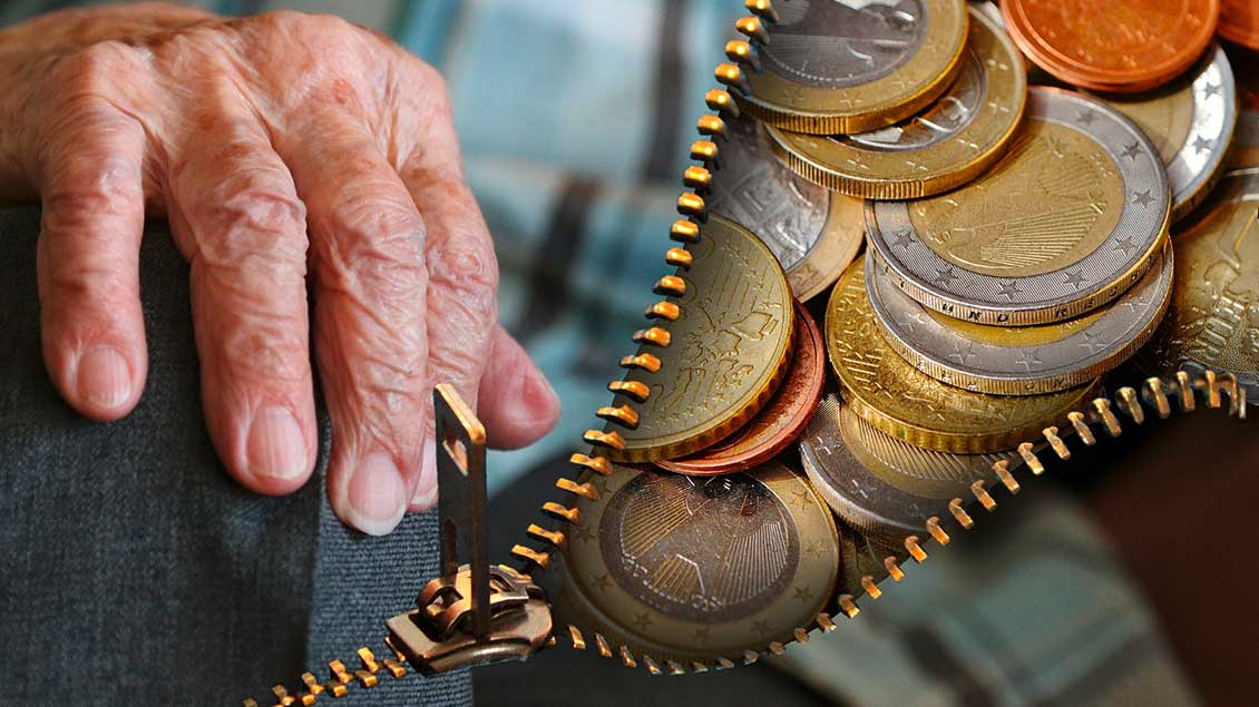 Alter Mensch und Münzen