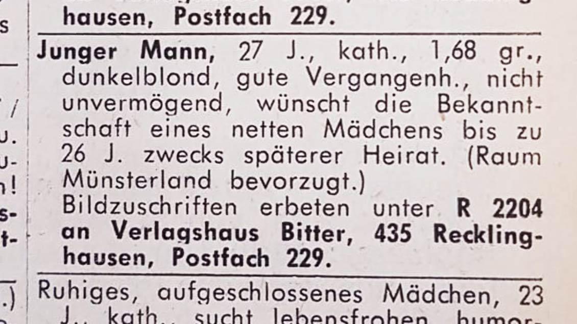 """Die Kontaktanzeige von Reinhard Schneider in der """"Kirche+Leben"""" im Jahr 1968."""