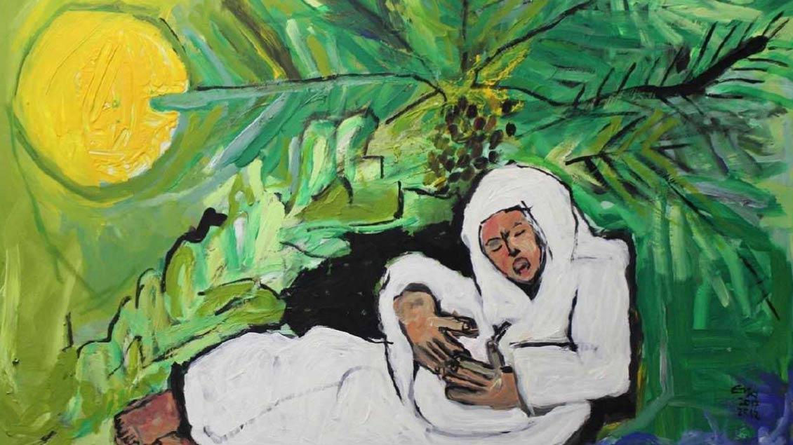 Das Gemälde zeigt die Geburt Jesu.