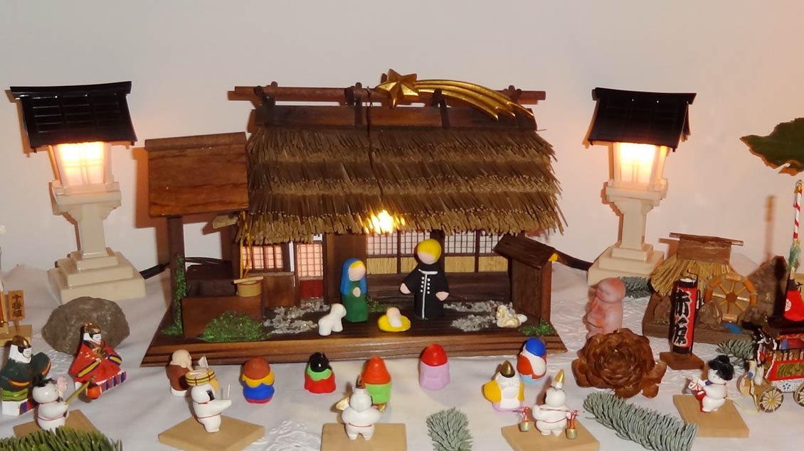 Diese japanische Krippe hat Maria Pannenberg in den Jahren 1984 bis 1987 während ihrer Tätigkeit als Pastoralreferentin in der deutschsprachigen Gemeinde St. Michael Tokyo, Japan zusammengestellt. | Foto: Maria Pannenberg