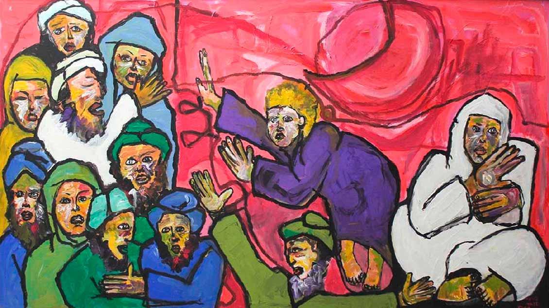 Der marokkanische Maler Aziz El Khiar zeigt mit seinen Bildern, wie er als Muslim Jesus versteht: Das Kind Jesu spricht. | Foto: privat