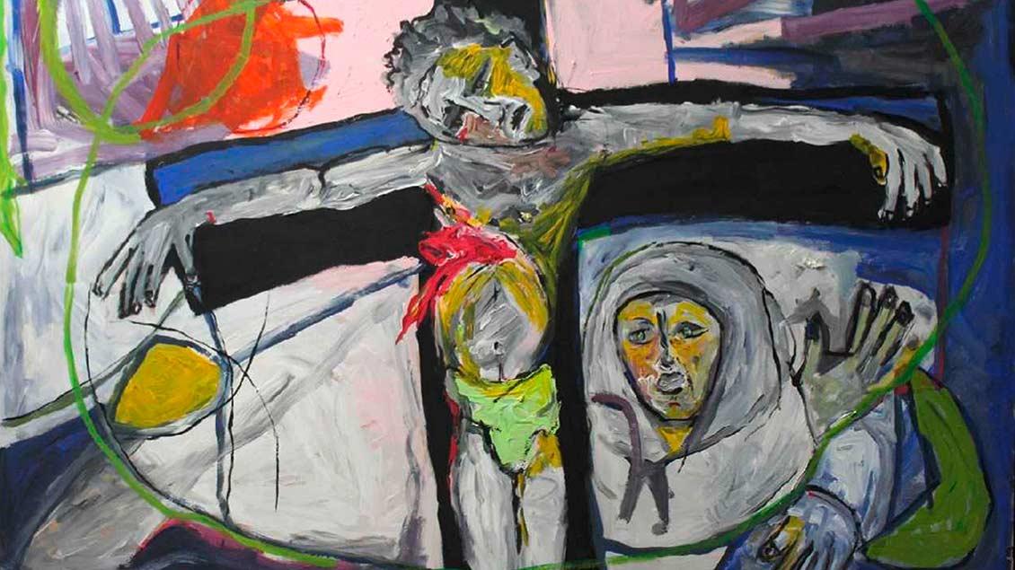 Der marokkanische Maler Aziz El Khiar zeigt mit seinen Bildern, wie er als Muslim Jesus versteht: Die Kreuzigung. | Foto: privat