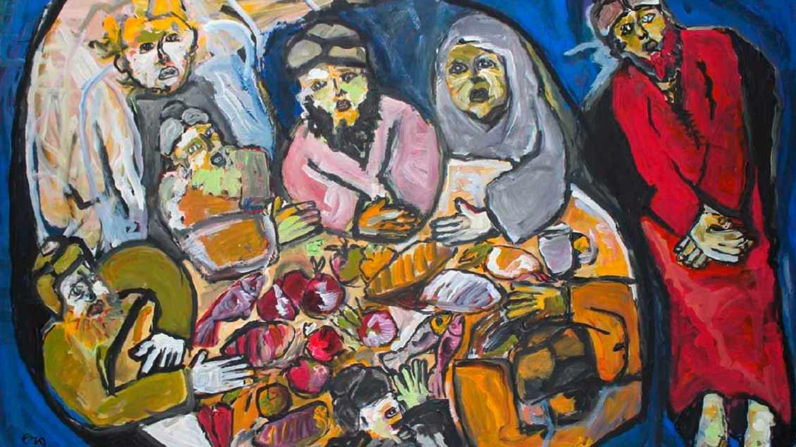 Der marokkanische Maler Aziz El Khiar zeigt mit seinen Bildern, wie er als Muslim Jesus versteht: Das letzte Mahl. | Foto: privat