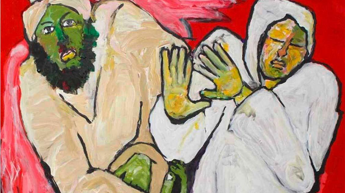 Der marokkanische Maler Aziz El Khiar zeigt mit seinen Bildern, wie er als Muslim Jesus versteht: Verkündigung des Engels an Maria. | Foto: privat