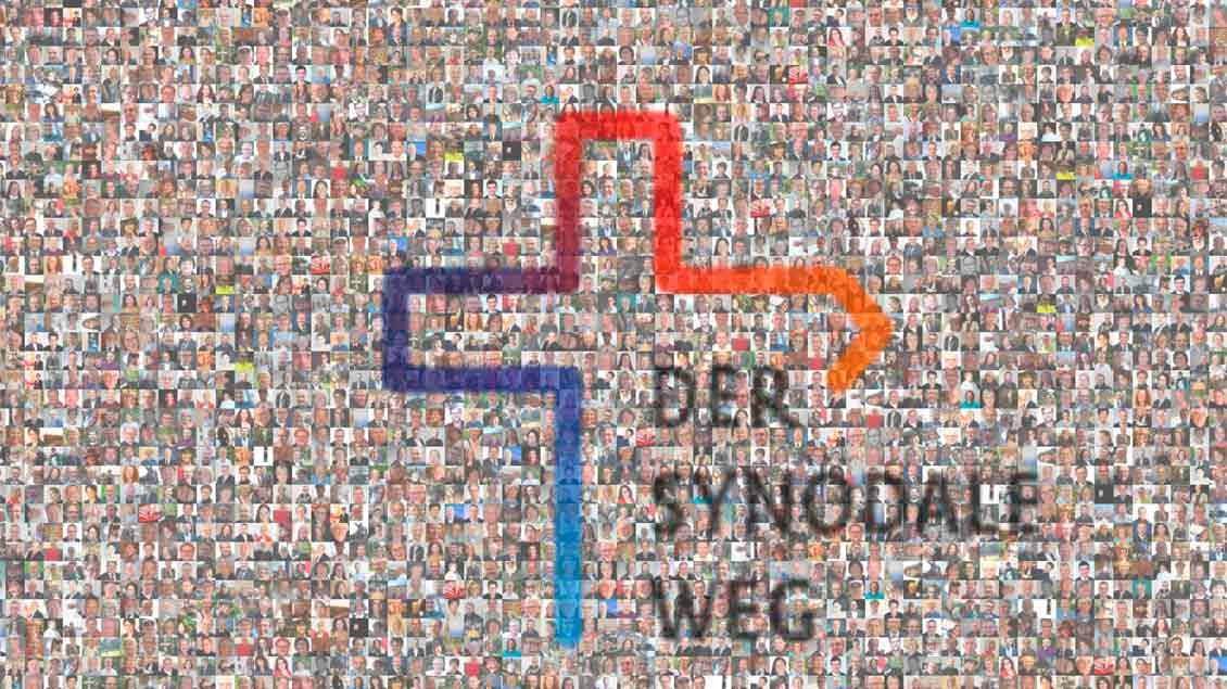 Viele Gesichter und das Logo des Synodalen Wegs