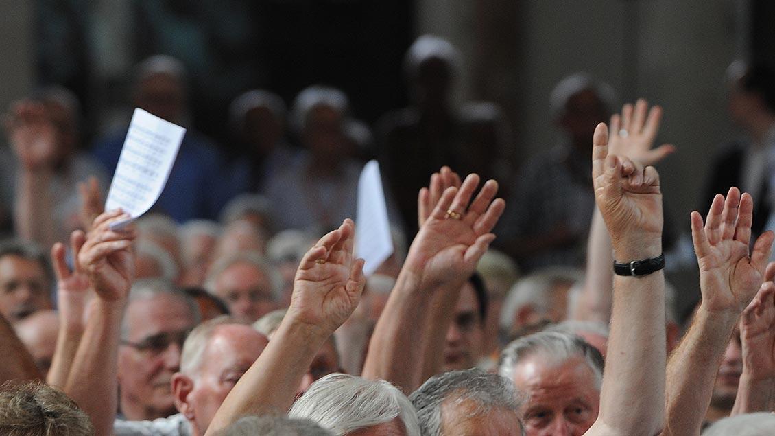 Hände werden für eine Abstimmung hochgehalten.