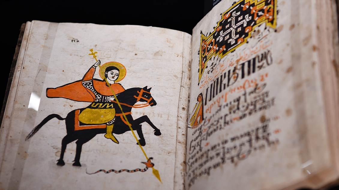 """""""Psalmodie für Chojak"""" – koptische Handschrift aus dem Jahr 1849.   Foto: Michael Bönte"""