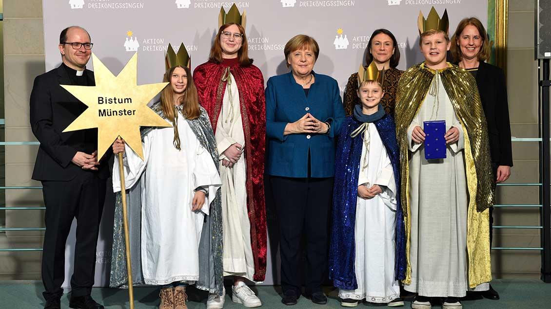 Die Münsteraner Gruppe mit Kanzlerin Merkel