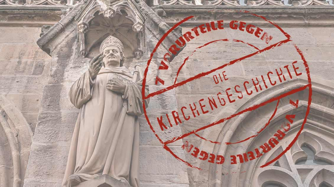 Mittelalterliche Darstellung eines Bischofs und Serienlogo