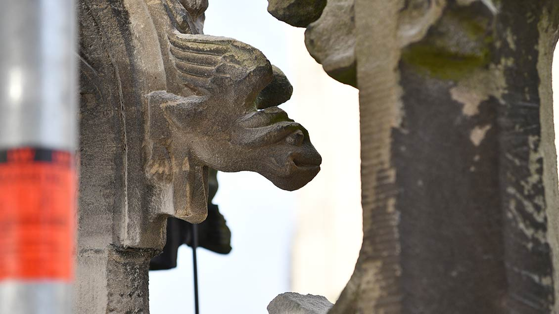 Fabelwesen: Oben auf dem spätgotischen Portal sind kleine Figuren zu finden, die vom Boden aus kaum sichtbar sind. | Foto: Michael Bönte