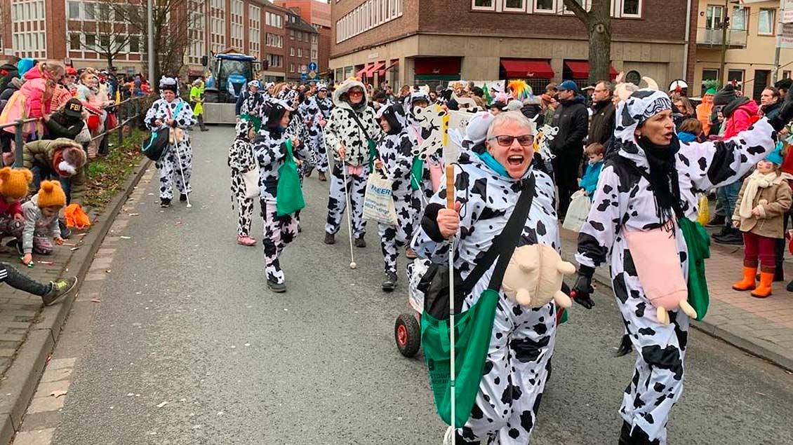 """Die Fußgruppe """"Blinde Kühe""""läuft mit ihren Kostümen durch die Menschenmenge beim Rosenmontagszug in Münster."""