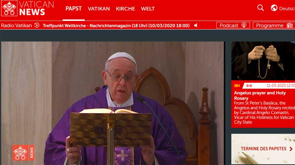 Papst Franziskus bei der Messe