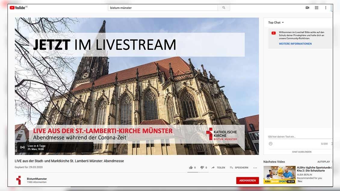 Screenshot der Übertragung aus St. Lamberti Münster Foto: Screenshot/mn