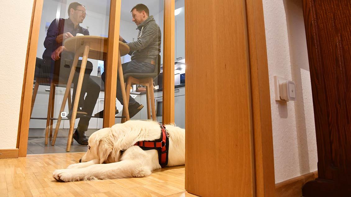 Hund Xabi liegt auf dem Boden vor dem großen Küchenfenster, hinter dem die beiden Pallottiner Kaffee trinken.
