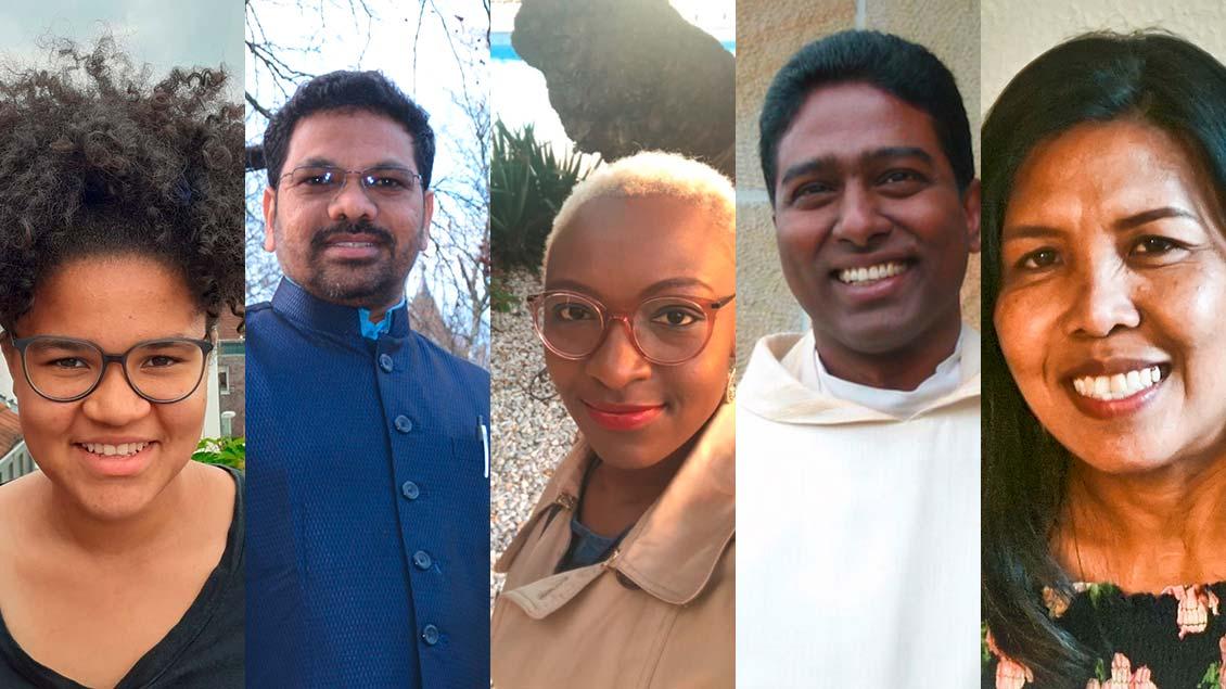 Stella Bensmann, Pfarrer Xavier Muppala, Yvonne Makopa, Pfarrer Ravi Chatta und Annaliza Oltmanns