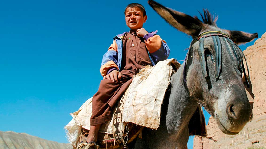 Junge auf einem Esel