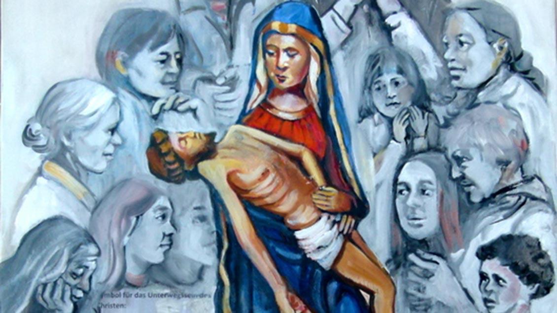 Verschiedene Frauen um die Schmerzensmutter von Bethen – so hat die Künstlerin das Wallfahrtsbild für die oldenburgische Landes-Frauenwallfahrt gestaltet. | Foto: privat