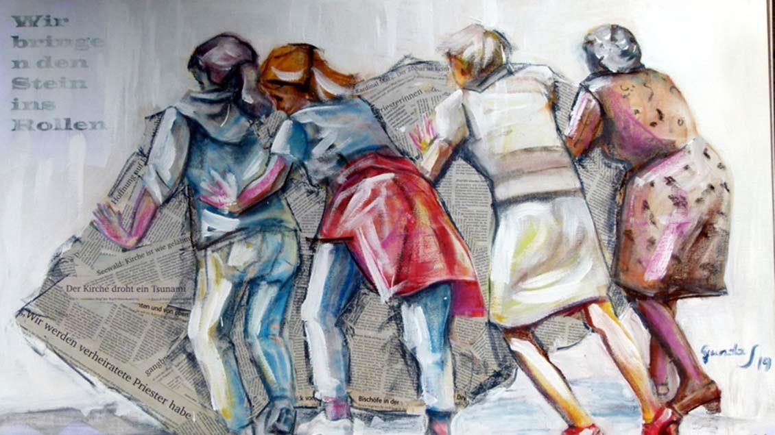 Gunda Schneider steht hinter der Forderung der Katholischen Frauengemeinschaften (KFD) nach Gleichberechtigung in der Kirche, die drückt sie in diesem Gemälde aus. | Foto: privat