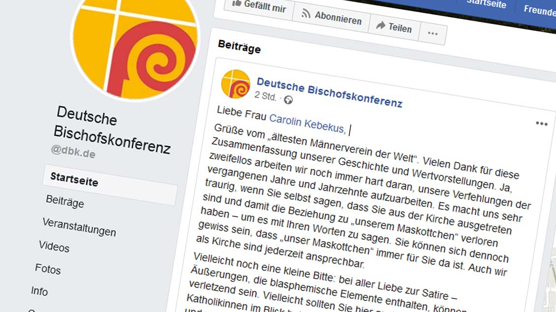 Screenshot des Facebook-Posts der Deutschen Bischofskonferenz Foto: Screenshot