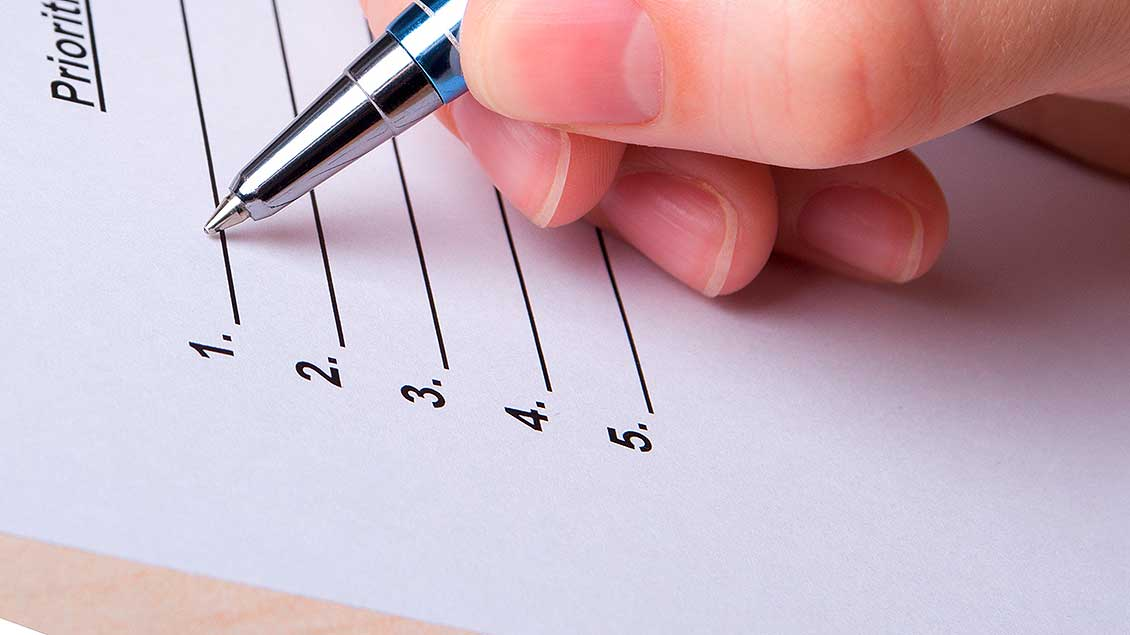 Liste mit Stift