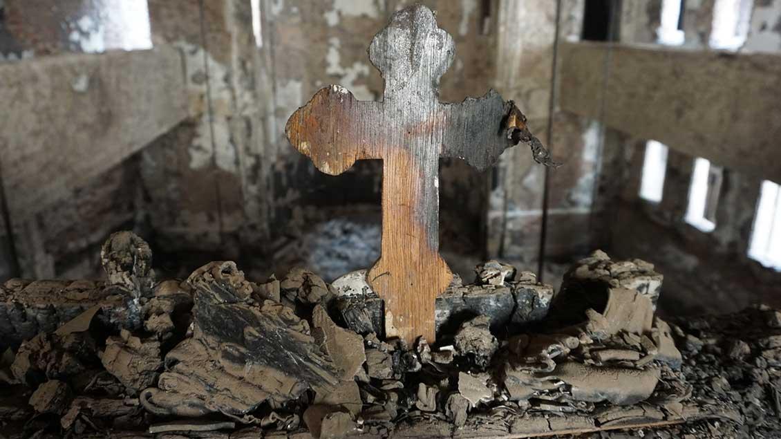 Ausgebrannte Kirche Foto: Kirche in Not