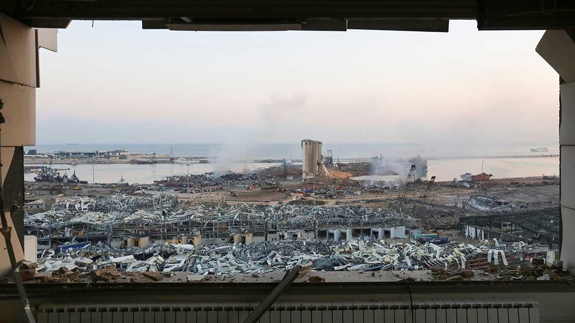 Zerstörter Hafen von Beirut