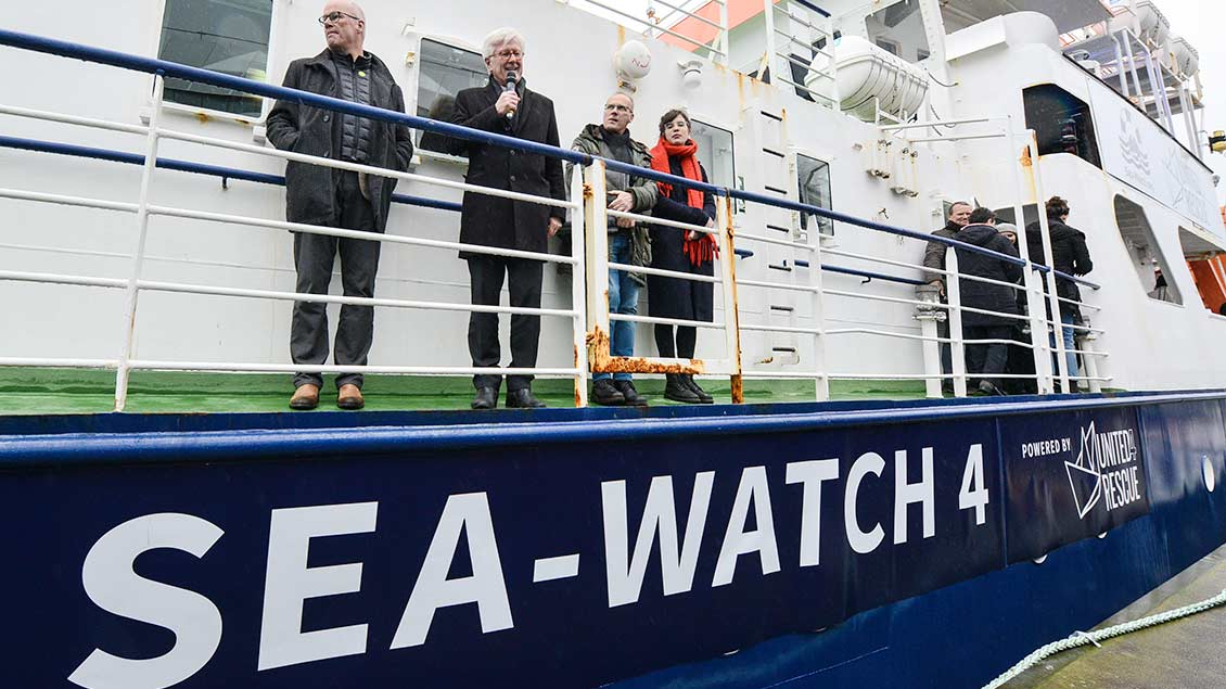 Schiffstaufe der Sea-Watch 4