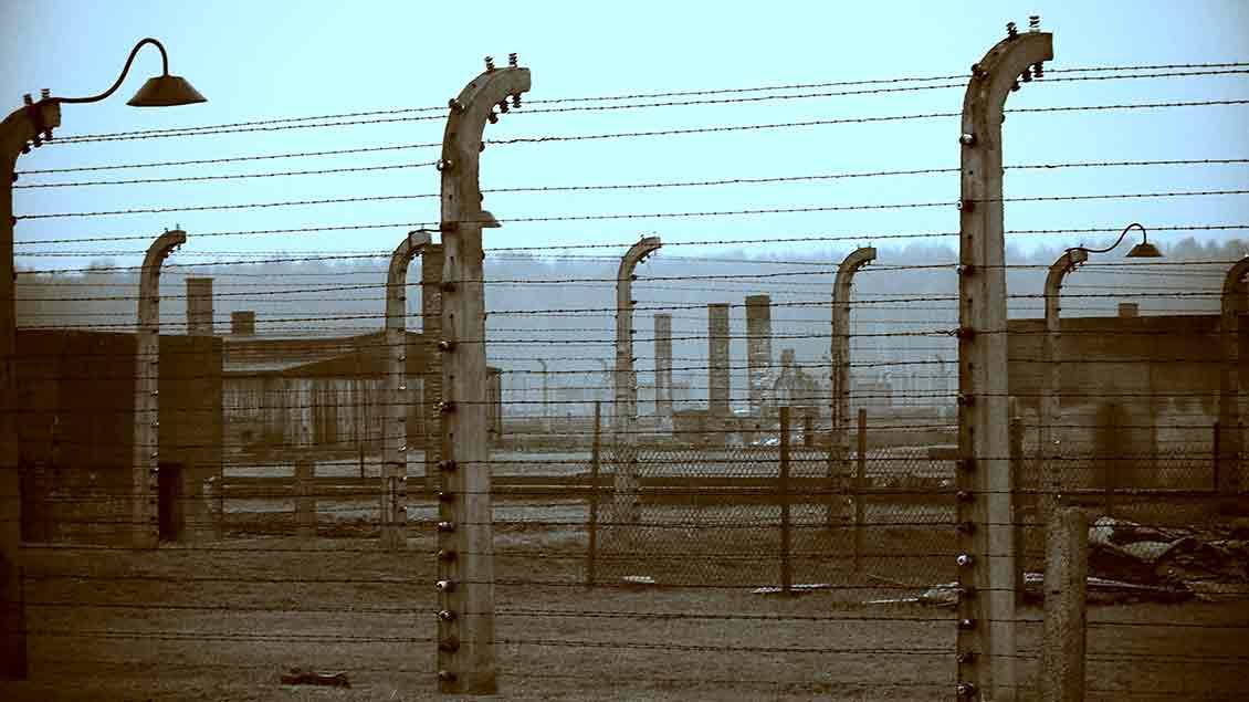 Stacheldrahtzaun am ehemaligen Konzentrationslager Auschwitz.